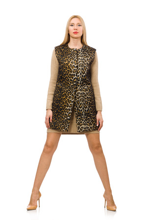 gepard: Pretty young woman in leopard vest isolated on white Stock Photo