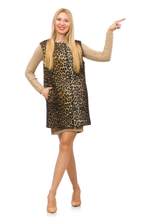 Pretty young woman in leopard vest isolated on white Stock Photo