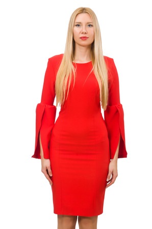 Pretty woman in red dress isolated on white Stock Photo