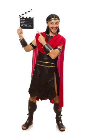 clapperboard: Gladiator with clapper-board isolated on white Stock Photo