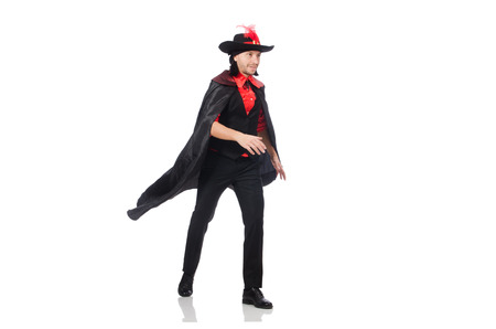 serenade: Young man in carnival coat isolated on white