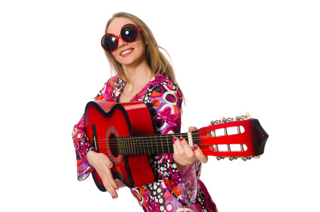 Woman guitar player isolated on white photo
