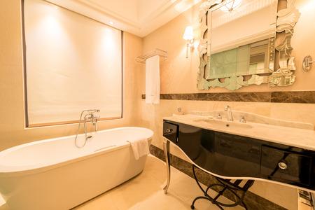 shower stall: Modern bathroom interior with bathtub Editorial