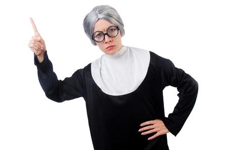 Comic nun isolated on white Stock Photo