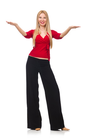 pret a porter: Young woman in flared pants isolated on white