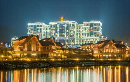 lake dwelling: Quba - MARCH 26, 2015: Quba Rixos Hotel on March 26 in Azerbaijan, Quba. Quba Rixos Hotel is luxury hotel in northern Azerbaijan
