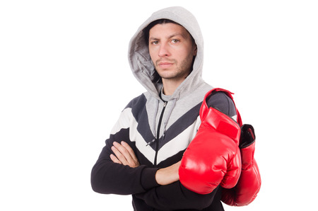 knockdown: Funny boxer isolated on the white Stock Photo