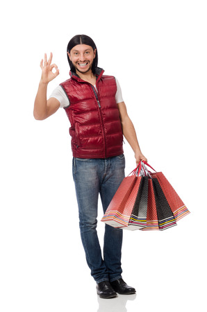 additional: Man with shopping bags isolated on white