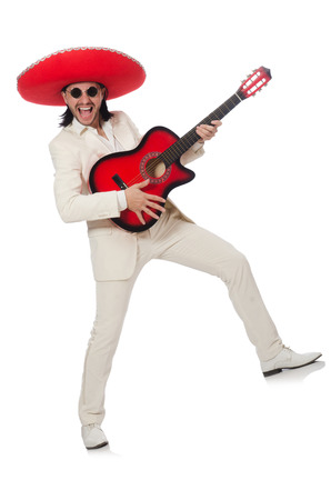 Mexican guitar player isolated on white photo