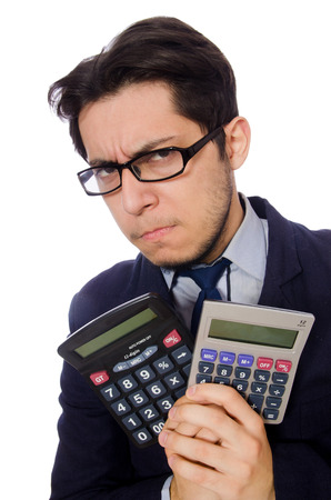 Funny man with calculator isolated on white photo
