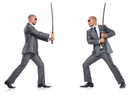 irate: Two men figthing with the sword isolated on white