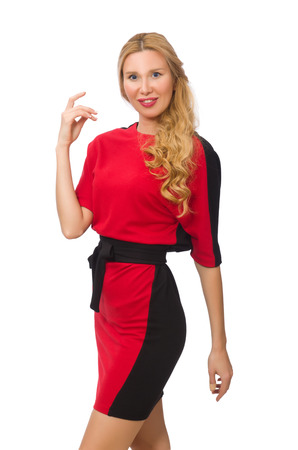 red on black: Beautiful lady in red black dress isolated on white Stock Photo