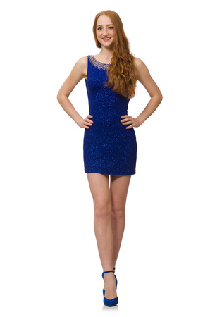 pret a porter: Pretty red hair girl in blue dress isolated on white Stock Photo
