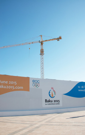 ancient olympic games: Baku - MARCH 21, 2015: 2015 European Games posters on March 21 in Azerbaijan, Baku. Baku will host first European Games in 2015