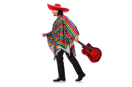 poncho: Mexican in vivid poncho holding guitar isolated on white Stock Photo