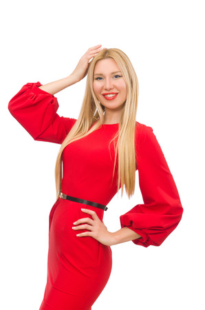 pret a porter: Beautiful woman in red long dress isolated on white