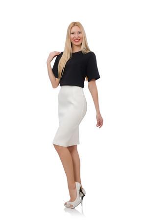 pret a porter: Blonde girl in black skirt isolated on white