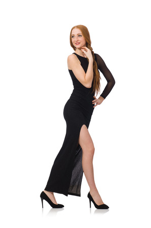 pret a porter: Young lady in elegant black dress isolated on white