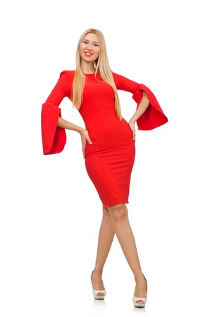 pret a porter: Pretty woman in red dress isolated on white Stock Photo