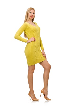 pret a porter: Pretty girl in yellow dress isolated on white