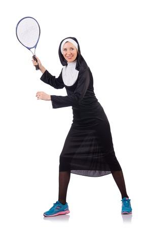 nun: Pretty nun isolated on white