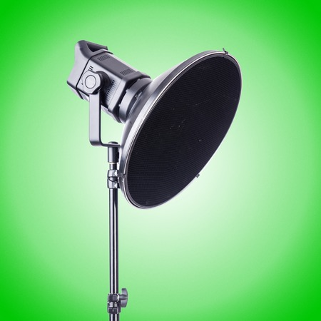 barndoors: Studio light stand isolated on the white