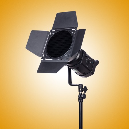 snoot: Studio light stand isolated on the white