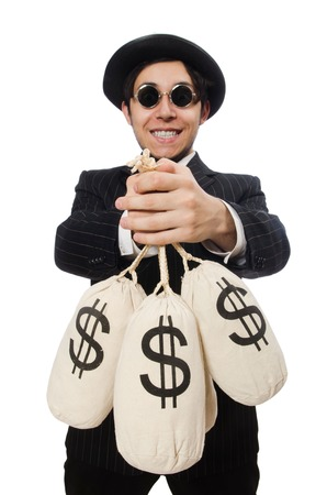 Young employee holding money bags isolated on white photo