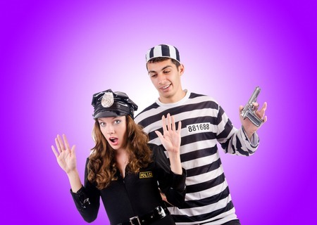 inmate: Police and prison inmate on white Stock Photo