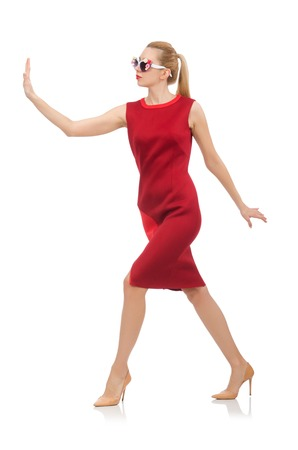 pret a porter: Pretty young woman in red dress isolated on white