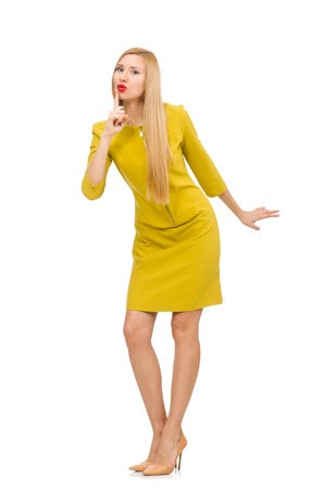 shhh: Pretty girl in yellow dress isolated on white