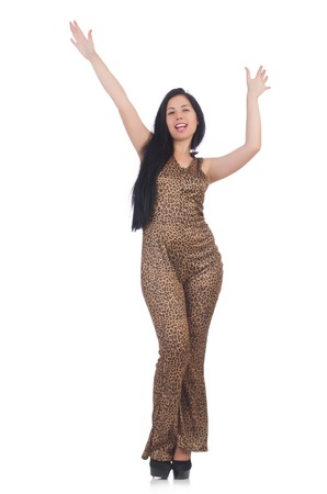 gepard: Young model in leopard prints suit isolated on white
