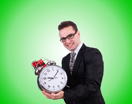 time bomb: Man with time bomb isolated on white