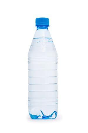 Botella de agua aislado en el blanco Foto de archivo