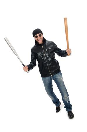man power: Aggressive man with baseball bat on white