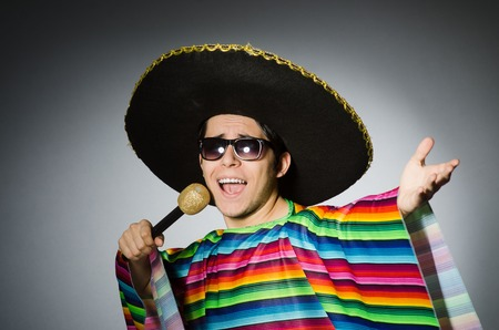 hispanics mexicans: Funny mexican singing in karaoke Stock Photo