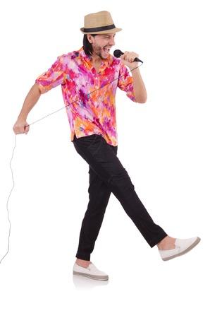 karaoke singer: Man in colourful shirt isolated on white