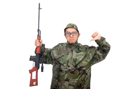 Military man with a gun isolated on white photo