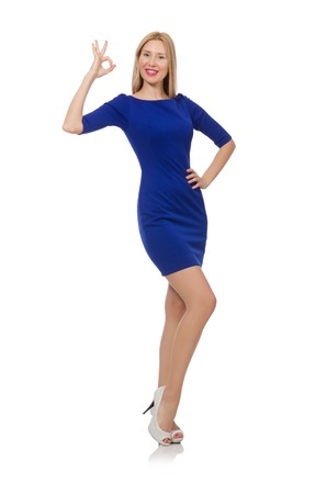 Beautiful lady in dark blue dress isolated on white photo