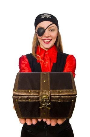 Pirate girl holding chest box isolated on white photo