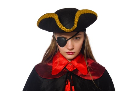 tricorn hat: Pretty pirate girl in carnival clothing isolated on white Stock Photo