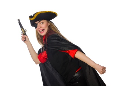 Pretty girl in carnival clothing with hand gun isolated on white photo