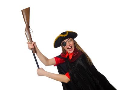 Pirate girl holding gun isolated on white photo