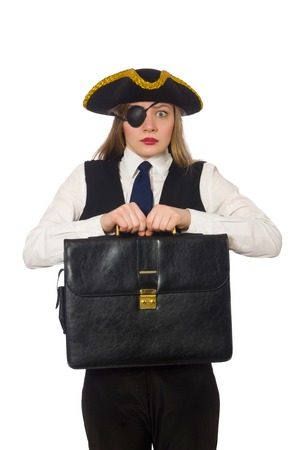 tricorn hat: Pretty pirate girl holding bag isolated on white Stock Photo