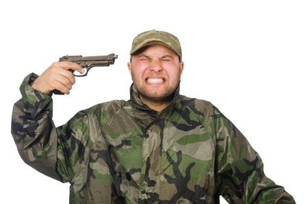 infantryman: Young man in soldier uniform holding gun isolated on white