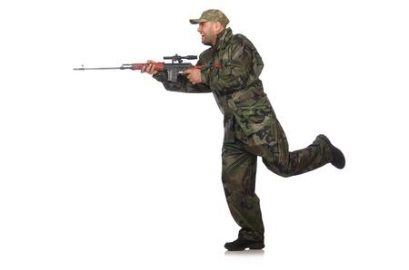 soldado: Correr soldado con una pistola aislado en blanco Foto de archivo