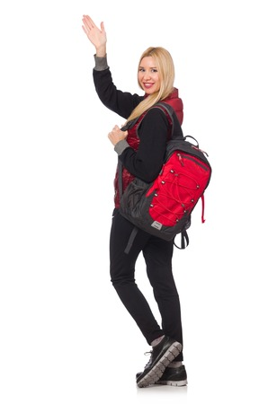 hitch hiker: Young woman student with backpack isolated on white