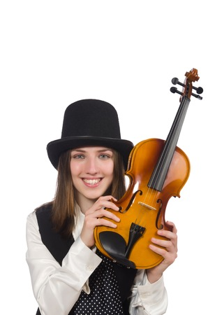 woman violin: Woman violin player isolated on white Stock Photo