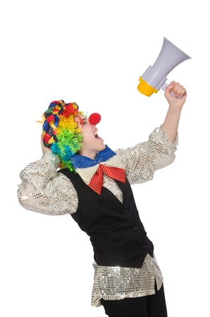 Female clown with megaphone isolated on white photo
