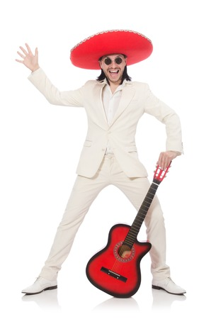 brandish: Mexican guitar player isolated on white